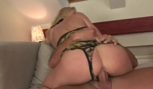 Blonde Jasmin gets her throat attacked by guys stiff love torpedo