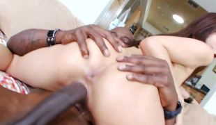 Dick riding Asian begs to have his black shaft deeper inside her