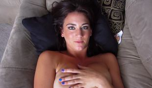 Breasty dark brown that loves her dildo jacks off and her boobs bounce