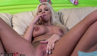 Stacked beauty Britney Amber toys her wet peach and fucks a long pole