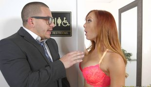 Redhead cougar with nice ass having her tight muff throbbed in office