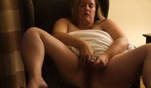 Fat and whorable light haired BBW was petting her own strong huge pussy