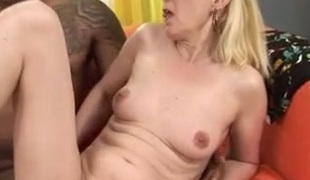 Blond Granny Fucks Darksome Cock
