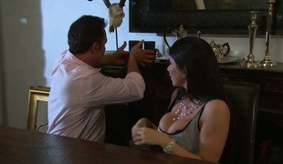 Busty slut with tattoo on her back Romi Rain gets fucked on the table