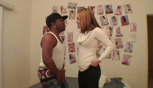 Big black dick stretched Cameron Love's white punani