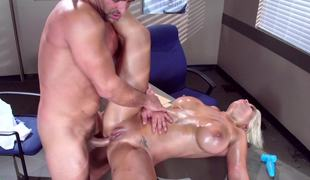 A blonde gets naked in the office and she gets pounded really hard