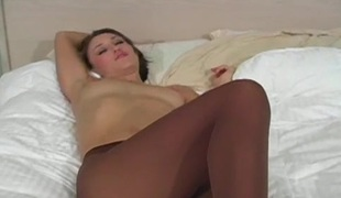 Adorable view of sexually excited slit yon transparent pantyhose
