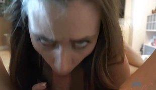 synspunkt brunette blowjob lingerie handjob