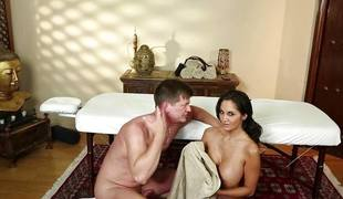 Big breasted Ava Addams getting spunked on her mangos
