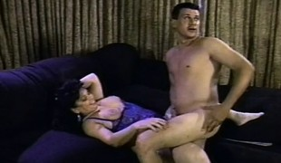 Chubby slut Ginni Lewis receives nailed hard in a gangbang and full of cum