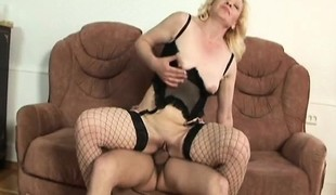 Concupiscent blonde granny in lingerie Lena feeds her desire for coarse sex