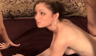 Sexy juvenile dark brown with miniature boobs Annika struggles with a huge jock