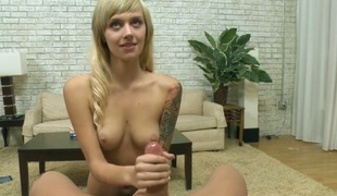 Blonde Emma Mae shows off her body parts during the time that giving jerk off job to a favourable dude