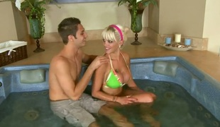 Blonde Delta White is on the way to the height of joy with hard meat pole in her wet gap