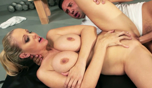 Deep gorge and big tits of Julia Ann are drilled by excited fitness instructor