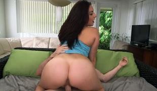 Vicious brunette hair bitch Nikki Lavay rides her fellow's prick