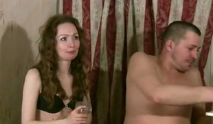 Brunette playful girl Osya eats chocolate and sucks dick