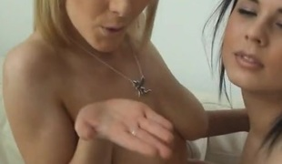 Two babes have fun together in style