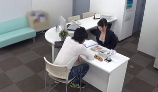 At the office a Japanese businesswoman bonks her co-worker