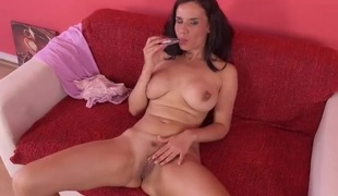 Milf in gorgeous high heels fucks a sex toy
