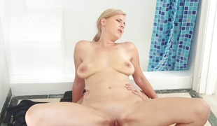 FamilyStrokes - Blonde Milf Bonks Step-Son In Shower