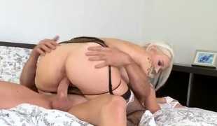 Blonde Arteya gets her face hole attacked by guys meaty throbbing love torpedo