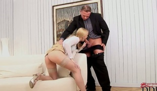 Blonde Misty Mild satisfies mans sexual needs and then receives overspread in cum
