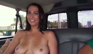 Tiffany Cane flaunts her perfect tits on Group sex Bus