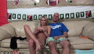 Breathtaking blonde with big hooters Lauren Crystal takes a deep drilling
