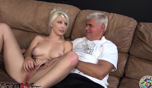 Stunning blonde with a heavenly ass Stevie Shae worships a long stick