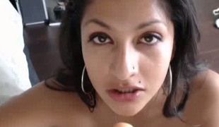 This webcam girl can't live without sucking her dildo and  I love the dirty look in her eyes
