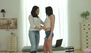 Welcome Distraction by Sapphic Erotica   lesbian love porn with Barbara Bella   Dolly Diore