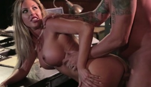 Horny milf Samantha Saint seduces her boss and gets fucked on the table