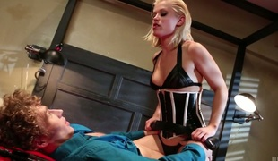 Nasty chick Ash Hollywood looks hawt in corset while riding hard dick