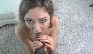 Tall model takes her first darksome cock at casting