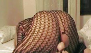 Italian BBW Non-professional Marital-device Fishnets