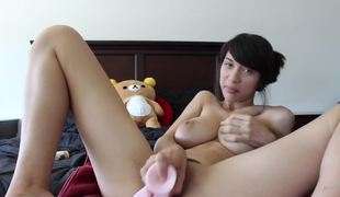 Asian female showing feet whilst masturbating