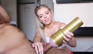 Wicked blonde pleasurable Fleshlight with huge penis