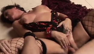 Seductive mature lady in hot lingerie wildly rides a juvenile man's cock