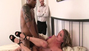 Slender Amanda Blow feeds her craving for black dick and her stud watches