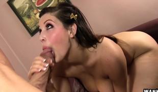 brunette hardcore store pupper blowjob titjob