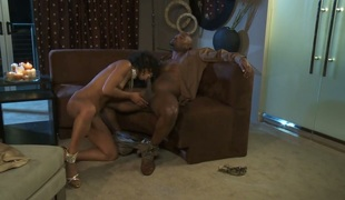 Misty Stone sucks the semen out of boner