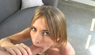 kjønn blonde deepthroat blowjob onani