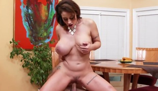 Eva Notty with large ass and hairless beaver is so wet and so horny that fucks with Kurt Lockwood like a sex crazed animal