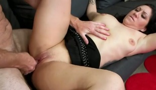 Piercings with round booty and bald bawdy cleft sucks like no other and hot gangbang buddy knows it