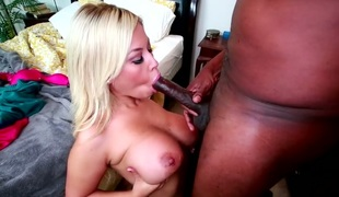 Golden-haired bitch with great silicone marangos Bridgette B sucks tasty hard dick