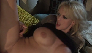 Stormy Daniels is riding hard pole after steamy wet crack licking