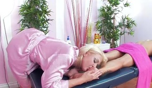 Massage table fun with 2 hot blondes with big tits