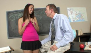 Absolutely wicked babe lures her tutor to a throbbbing fuck