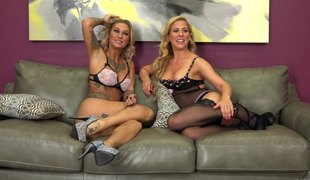 Experienced blondes having a great time with the huge sex tool
